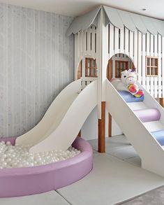 Kids Indoor Playhouse, Indoor Playroom, Playhouse With Slide, Little Girls Playroom, Cool Kids Bedrooms, Playroom Design, Kids Room Design, Playroom Slide, Basement Play Area