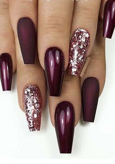 46 Elegant Acrylic Ombre Burgundy Coffin Nails Design for Short and Long Nails - S . - 46 Elegant acrylic ombre burgundy coffin nails design for short and long nails – page 45 of 46 - Burgundy Nail Designs, Burgundy Nails, Colorful Nail Designs, Nail Art Designs, Ombre Burgundy, Glitter Nail Designs, Coffin Nail Designs, Maroon Nails, Awesome Nail Designs
