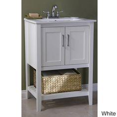 Legion Furniture Ceramic-top 24-inch Single Sink Bathroom Vanity with Basket
