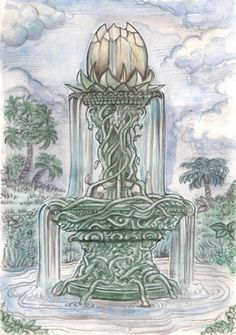 "Fountain of youth - published in ""Tsa-Vademecum"", Das schwarze Auge /The dark eye.  Ulisses Spiele 2014.  Watercolor."
