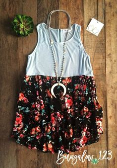 Easy-fit Summer Top featuring a Light Blue top with gorgeous floral bottom. Sleeveless with empire waist. Very soft and comfortable-looks great with our B123 Jeggings! Runs a little big, if in-between