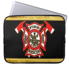 Fire Department logo Gold And Red Badge gold foil Laptop Sleeve gift for a firefighter, diy fireman gifts, firefighter birthday party Firefighter Crafts, Firefighter Birthday, Firefighter Quotes, Volunteer Firefighter, Firefighter Tattoos, Firefighters, Volunteer Gifts, Volunteer Appreciation, Computer Sleeve