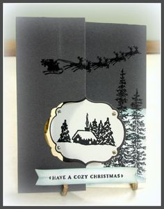 Sandi's Cozy Christmas card on the Label Card Thinlits die - all supplies from Stampin' Up!