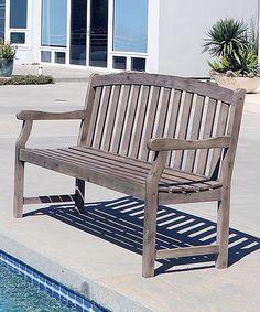 Love this Natural Acacia Hardwood Renaissance Outdoor Bench by VIFAH on #zulily! #zulilyfinds