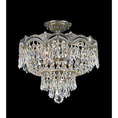 Majestic Historic Brass Three Light Crystal Semi Flush Crystorama Lighting Group Semi Flus