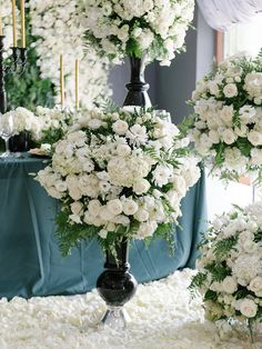 """""""But he who dares not grasp the thorn Should never crave the rose. Tall Table, White Flowers, Wedding Flowers, Table Settings, Table Decorations, Rose, Photography, Home Decor, High Bar Table"""