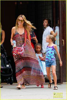 Heidi Klum and Martin Kirsten take the kids Leni, Henry, Johan and Lou to breakfast on July 12, 2013