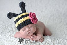 Bumble bee yellow black stripe animal  crochet flower clip beanie hat newborn baby boy or girl size infant photography prop. $24.00, via Etsy.