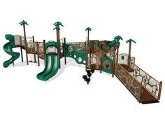 Courage playground is perfect for ages 2 through 12 and features a wheelchair accessible rocking bench, slides, and climbing walls. It's great for a preschool or park.