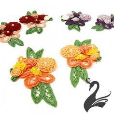 www.houseofadorn.com - Motif Floral Bouquet Lace Ribbon Applique - Style 3009 (Price Per Pair)
