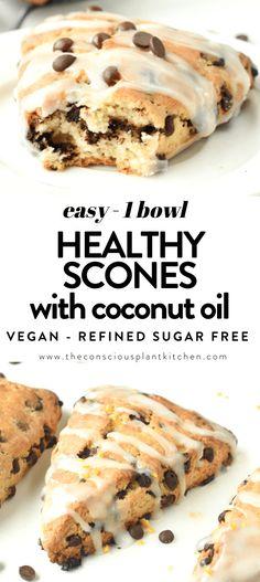 Healthy Scones, Vegan Scones, Dairy Free Recipes, Baking Recipes, Vegan Recipes, Vegan Ideas, Dairy Free Chocolate Chips, Vegan Chocolate, Banana Dessert Recipes