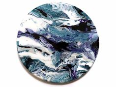 Circle Pour Painting with Resin - Purple, Blue, White and Metallic Silver - Handmade Planet - Modern Abstract - Wall Decor - Collage Idea // by Meghan Tutolo creations) City Painting, Pour Painting, Mixed Media Painting, Metallic Gold Color, Metallic Paint, Original Art, Original Paintings, Oil Paintings, Dorm Art