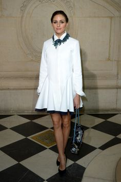 Also at Dior? Olivia Palermo, who picked a crisp white dress and a statement necklace.