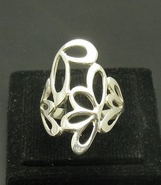 STYLISH STERLING SILVER RING SOLID 925 FLOWER NEW SIZE 4 - 10