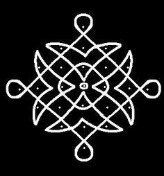 7 - 1 parallel dots (Neer Pulli) Kolam.