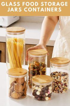 The glass food storage jars containers is made of 2.5mm food-grade high borosilicate glass, more thicker and durable than other glass canister set, 100% non-toxic and lead-free. #ad Glass Food Storage, Storage Jars, Delicious Vegan Recipes, Yummy Food, Healthy Recipes, Household Products, Household Tips, Summer Drink Recipes, Organizing