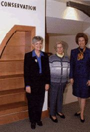 Three leaders instrumental to the creation of the new facility attended the Friends' Library Open House in November 1999. | Wellesley College
