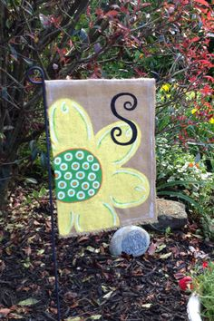 Burlap Garden Flag with Flower and Initial by WORLEYdesigns