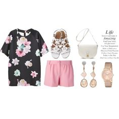 """""""Petal"""" towards Spring by monikazajac on Polyvore featuring Monki, Moschino Cheap & Chic, Mulberry, Jordan Alexander and GUESS"""