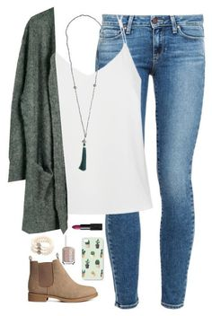 -Fashion trends 2018 SHOP THE LOOK! Skinny jeans* white cami* loose fitted cardigan with pocket* low booties* tassel necklace* pineapple iPhone case* Essie nails and more. Fall Winter Outfits, Autumn Winter Fashion, Spring Outfits, Early Fall Outfits, Looks Style, Style Me, Mode Outfits, Casual Outfits, School Outfits
