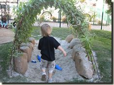 A miniature sand area in a willow tunnel of Little owl preschool