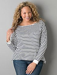 Your active wardrobe gets a style makeover with our striped shirt tail hem sweatshirt that features an open neck line, ribbed cuffs and convenient kangaroo pocket. Soft terry cloth is comfy and cozy. lanebryant.com