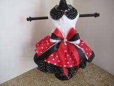 Dog Dress XS Red Black Polkadots By Nina's by NinasCoutureCloset