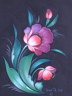 Tole Painting, Fabric Painting, Painting & Drawing, Folk Art Flowers, Flower Art, Flower Fairies, Arte Popular, Motif Floral, Painting Patterns