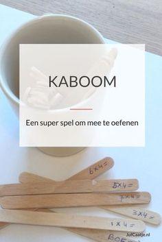 Kaboom, of op z'n Nederlands Boem, is een van mijn favoriete spellen. Je kunt het gebruiken voor het oefenen van tafels, sommen tot tot 20, maar bijvoorbeeld ook voor woordenschat. Het is simpel om te maken en het spel verloopt snel.
