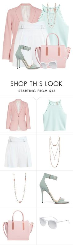 """""""Buckle Shorts & Scallop Trim Top"""" by brendariley-1 ❤ liked on Polyvore featuring Zimmermann, Stephen Dweck, Halston Heritage, Ted Baker and Smoke x Mirrors"""