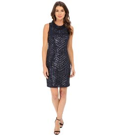 Vince Camuto Deco Pattern Cracked Ice Sleevless Sheath Dress