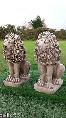 #large Stone Lions Pair #reconstituted #stone/concrete 60kg Each, View More