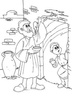 Children of Israel Do the Gods Command to Mark Their Door on Passover Coloring Page: