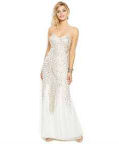 Joanna Chen Petite Strapless Beaded Sweetheart Gown - 6P - $300