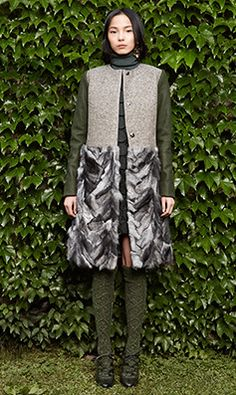 Tory Burch FALL 2014 — Look 13:  Thea Coat, Valentina Sweater, Laurence Skirt, Astrid Pump