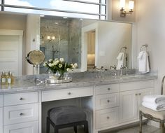 Custom Bathroom Vanities With Makeup Area cabinet inspiration. granite counter tops = cambria canterbury