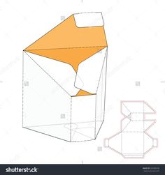 Tapered Prism Box With Die Cut Template Stock Vector Illustration 320389328 : Shutterstock Box Packaging Templates, Packaging Box, Packaging Design, Paper Box Template, Origami And Quilling, Creative Box, Cardboard Packaging, Box Patterns, Paper Gift Box