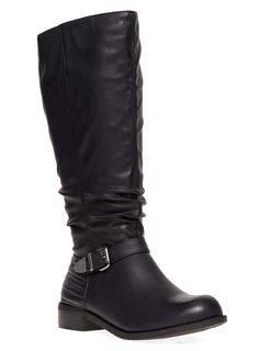 Evans Black Ribbed Buckle Long Boots