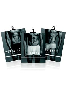 Menswear underwear packaging layout graphic design men trunks briefs boxer shorts New Look men typography black and white photography
