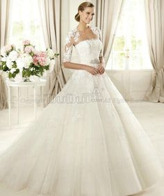 Ball Gown Tulle Tube Top Strapless Sweep Lace Beading Wedding Dresses With Half Sleeve Jacket, Wedding Gowns, Bridal Gown, Bridal Dresses - pinnin for the Jacket