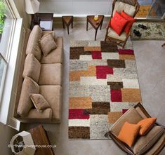 Patchwork Rugs, Patchwork Patterns, Patchwork Designs, Wool Rugs, Types Of Rugs, Orange Red, Modern Rugs, Woven Rug, Colorful Rugs