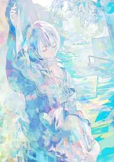 Fuck yeah Pixiv — Green Week by ろさ Anime Kunst, Guache, Pastel Art, Anime Artwork, Anime Scenery, Anime Style, Manga Art, Art Girl, Amazing Art