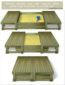 Genius Ideas- Covered sand box - Give to Gpa to build for Grant...This would work for jigsaw puzzlers too. Turn this idea into a coffee table.