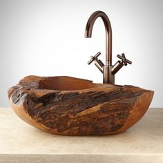 Bathroom Furniture, Fixtures and Decor Rustic Bathroom Designs, Rustic Home Design, Rustic Bathrooms, Modern Bathroom Design, Bathroom Sink Bowls, Teak Bathroom, Wood Sink, Teak Wood, Landscape Stairs
