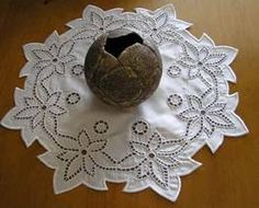 Vintage set of 4 madeira hand embroidered linen place mats~needlelace fillings - Google Search - Google Search