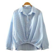 Novo estilo primavera outono mulheres camisas Stripe padrão Turn down Collar manga comprida blusa Femme algodão curva inferior mulheres Tops em Blusas & Camisas de Das mulheres Roupas & Acessórios no AliExpress.com | Alibaba Group