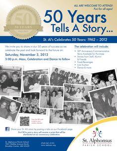 50th Anniversary Flyer/Poster for St. Alphonsus Parish School