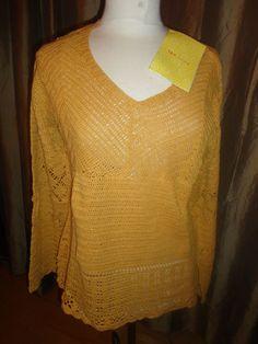 Womens New Modern Soul Camel Color Crochet Sweater Size Medium Linen/cotton. find me at www.dandeepop.com