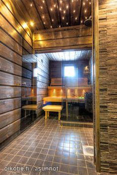 Like the ceiling twinkle lights Bathroom Toilets, Laundry In Bathroom, Sauna Room, Dream Bath, Brown Bathroom, Saunas, Extra Seating, Bath Ideas, Bathroom Ideas