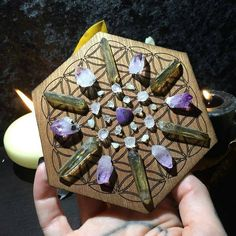 Crystal Grid on Flower of Life Spiritual Growth by AwakenMinerals
